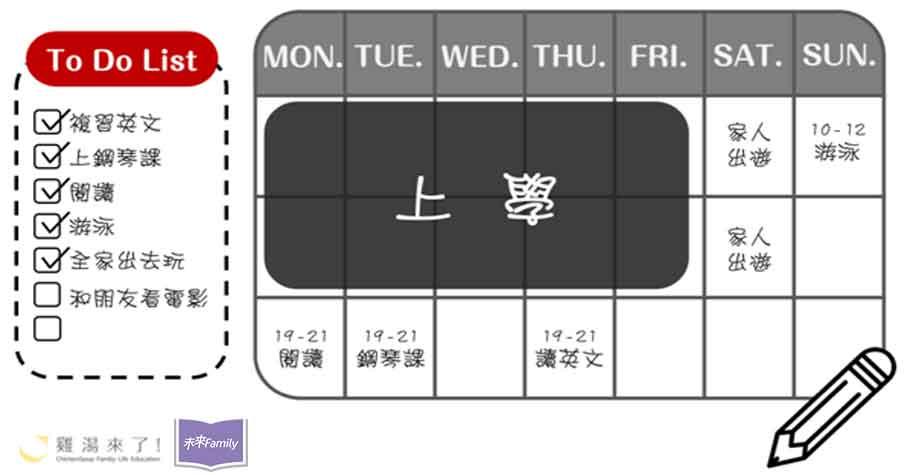 教會孩子做時間的主人,從小開始練習管理時間,從每週半小時和孩子一起擬定週計劃開始